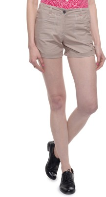 A Luv Ya Solid Women's Beige Hotpants