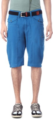 People Solid Men's Blue Cargo Shorts