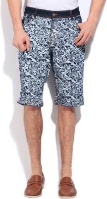 High Star Printed Men's White, Black, Blue Basic Shorts