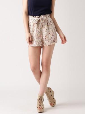 Dressberry Printed Women's White Basic Shorts