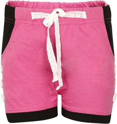 Dreamszone Solid Girl's Pink Hotpants