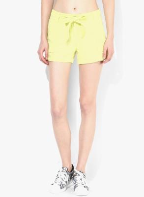 Vero Moda Solid Women's Yellow Denim Shorts