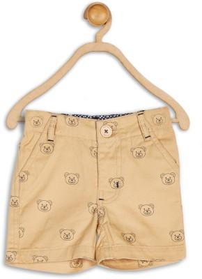 612 League Printed Baby Boy's Brown Basic Shorts