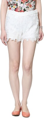 Allen Solly Self Design Women's White Hotpants