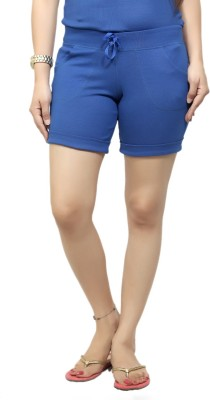 By The Way Solid Women's Blue Basic Shorts, Beach Shorts, Cycling Shorts, Night Shorts
