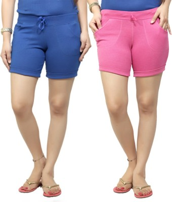 By The Way Solid Women's Blue, Pink Basic Shorts, Beach Shorts, Cycling Shorts, Night Shorts