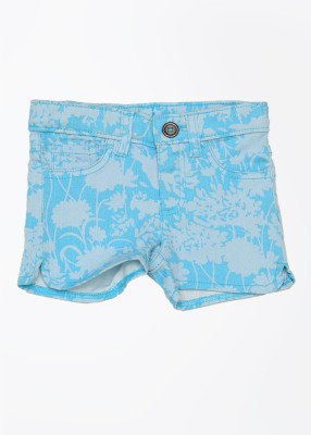 United Colors of Benetton Printed Girl's Blue Denim Shorts