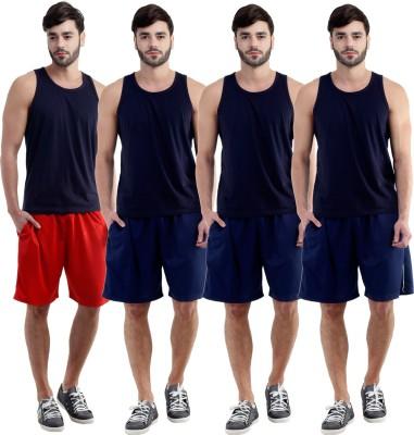 Dee Mannequin Self Design Men's Red, Dark Blue, Dark Blue, Dark Blue Sports Shorts