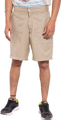 Tam Creatio Solid Men's Beige Basic Shorts