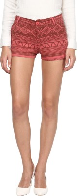 Annapoliss Printed Women's Red Hotpants