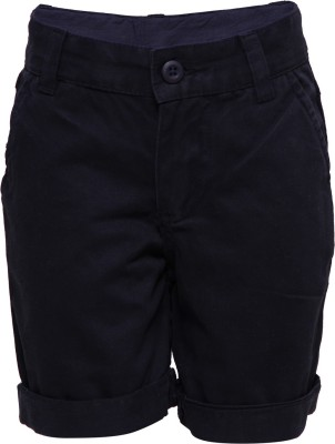 Tickles By Inmark Solid Boy's Dark Blue Basic Shorts