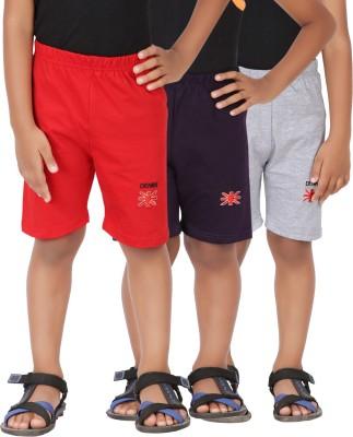Graceful Solid Boy's Grey, Red, Purple Basic Shorts