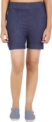 NOTYETbyus Solid Women's Dark Blue Basic Shorts