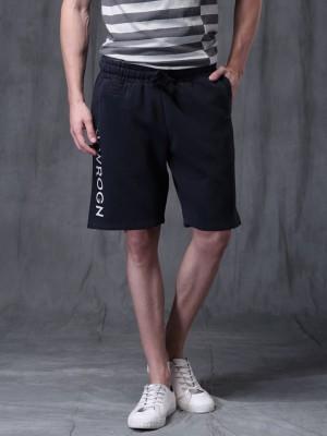 WROGN Solid Men's Dark Blue Basic Shorts