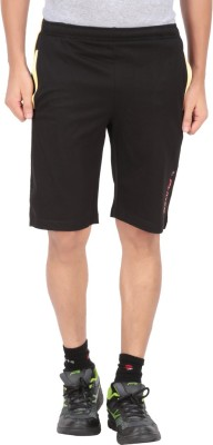 Indian Engineer Solid Men's Black, Yellow Basic Shorts