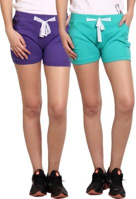 Yogaandsportswear Solid Women's Purple, Green Basic Shorts
