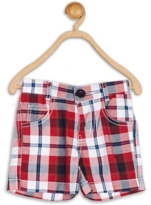 612 League Checkered Baby Boy's Red Basic Shorts