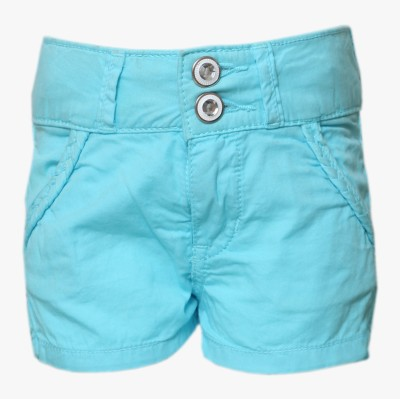 Tales & Stories Solid Baby Girl,s Denim Blue Basic Shorts