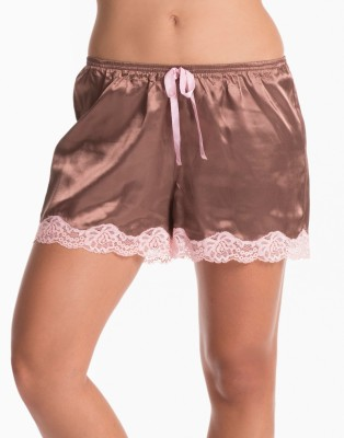 PrettySecrets Solid Women's Brown, Pink Night Shorts