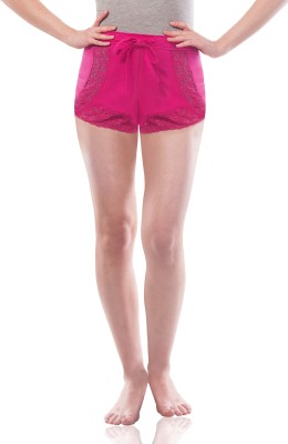 Miss Chase Solid Womens Pink Basic Shorts