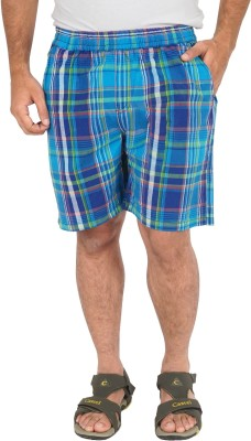 Cub Checkered Men's Blue Basic Shorts