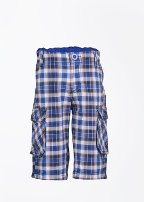 People Checkered Boy's Blue Shorts