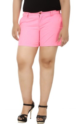 LastInch Solid Women's Pink Basic Shorts