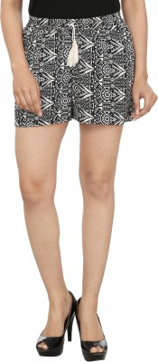 InDzone Printed Women's Black, White Basic Shorts