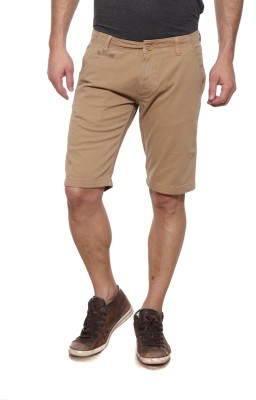 Pepe Solid Men's Denim Beige Denim Shorts