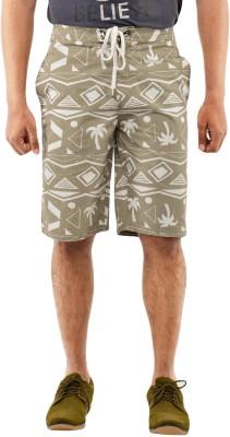 Blue Wave Printed Men's Grey Basic Shorts