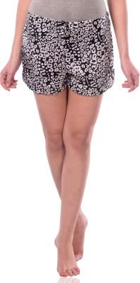 Miss Chase Animal Print Women's Black Basic Shorts