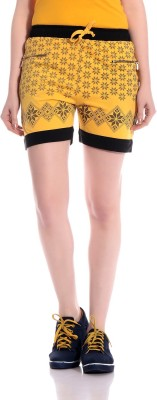 Tab91 Floral Print Women's Yellow Basic Shorts