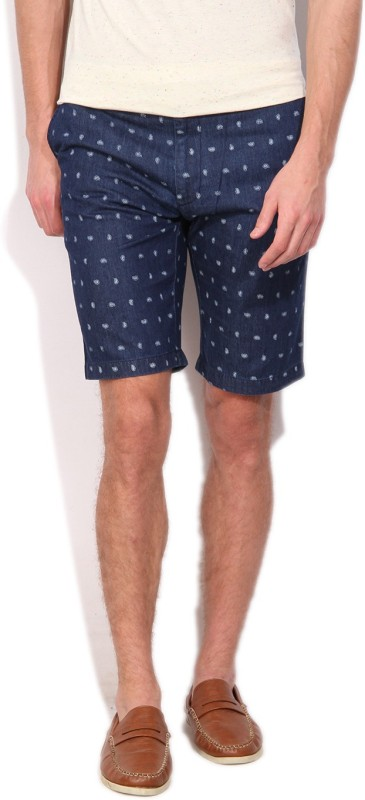 Indian Terrain Printed Men's Dark Blue Denim Shorts
