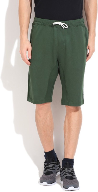 Reebok Solid Men's Green Basic Shorts