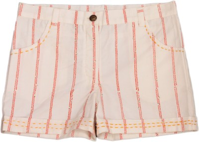 Nana Printed Girl's White Basic Shorts