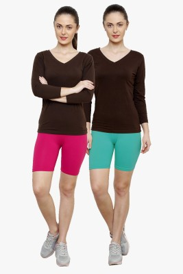 Softrose Solid Women's Pink, Light Green Cycling Shorts
