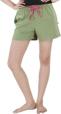Nite Flite Polka Print Women's Green, Pink Night Shorts