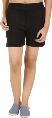 NOTYETbyus Solid Women's Black Basic Shorts