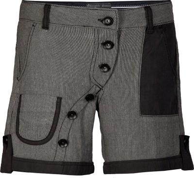 Chlorophile Striped Women's Grey, Black Basic Shorts