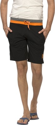 Alan Jones Solid Men,s Black Basic Shorts