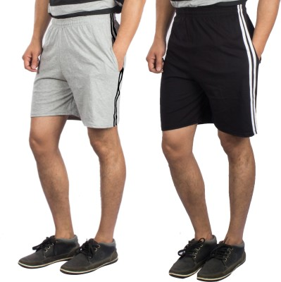 V3Squared Solid Men's Black, Grey Bermuda Shorts