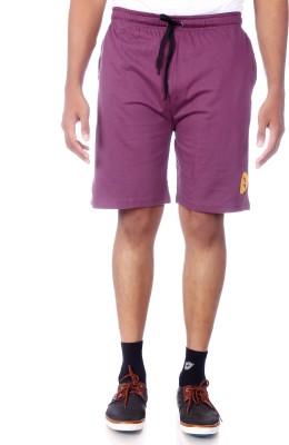 Shootr Solid Men's Purple Bermuda Shorts