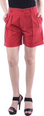 Trendy Divva Solid Women's Red Denim Shorts