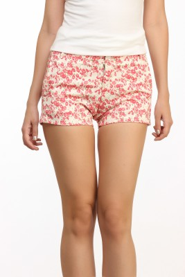 Cation Floral Print Women's White Hotpants