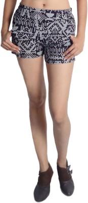 Oomph Factor Geometric Print Women's Black, White Hotpants
