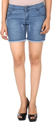 Haniya Solid Women's Blue Denim Shorts