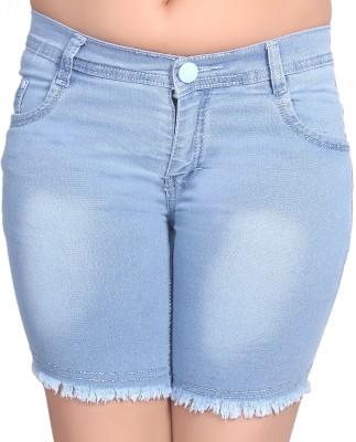 Nifty Solid Women's Denim Light Blue Denim Shorts