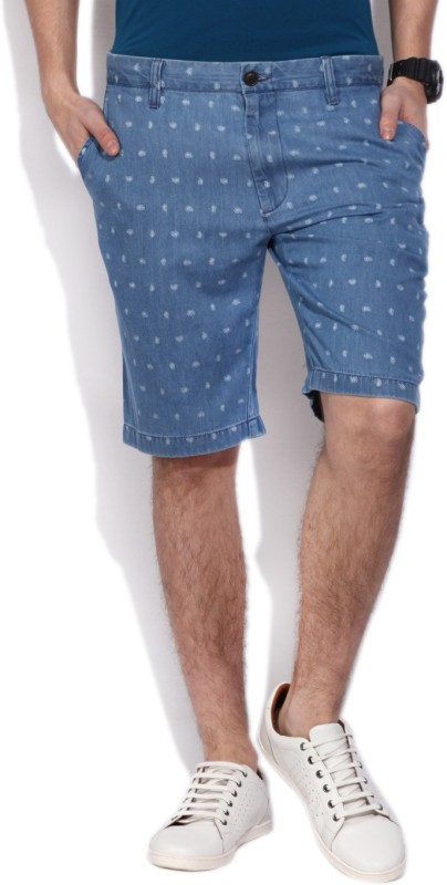 Indian Terrain Printed Men's Blue Denim Shorts