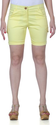 Fast n Fashion Solid Women's Yellow Hotpants