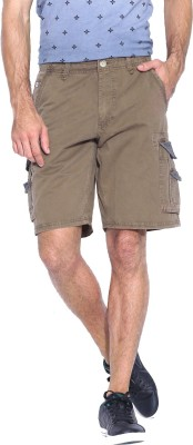Blue Wave Solid Men's Brown Cargo Shorts